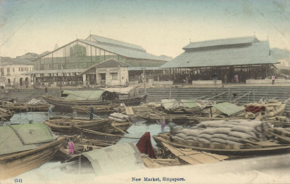 singapore, new market, native boats (1910s)